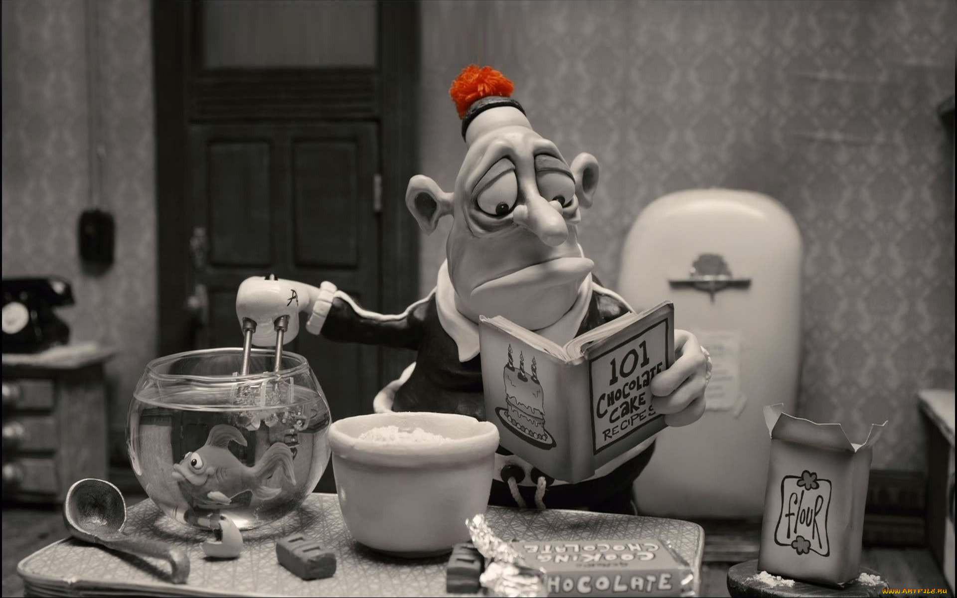 мультфильмы, mary and max, рыбка, кухня, книга